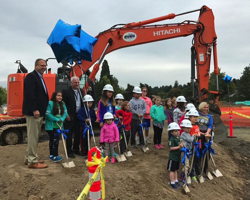 FILE PHOTO - Students, parents and staff gather in 2017 for the groundbreaking of the new Hazeldale Elementary School.