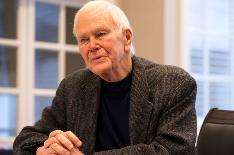 JAIME VALDEZ/PAMPLIN FILE PHOTO - Former U.S. Sen. Bob Packwood in an interview with a Pamplin Media Group reporter at the Oswego Lake Country Club Dec. 15, 2017.