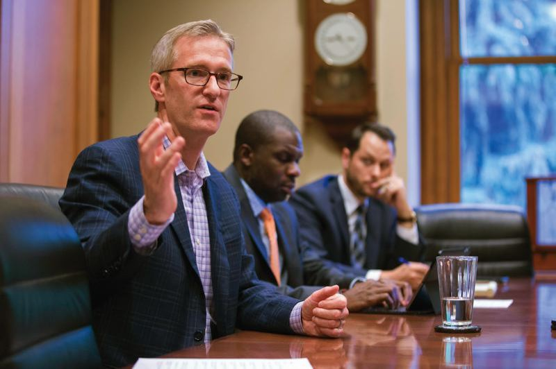PAMPLIN MEDIA GROUP FILE PHOTO - Portland Mayor Ted Wheeler had protesters removed Wednesday, Jan. 31, from a City Council meeting. The group was protesting city plans to evict homeless campers in Northeast Portland.