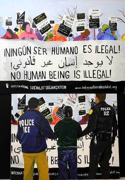 SUBMITTED PHOTO - 'A Country Divided: Ningún Ser Humano es Illegal,' created by Riverdale student Alma Tzintzun, won a Gold Key in the Oregon Scholastic Art Awards.