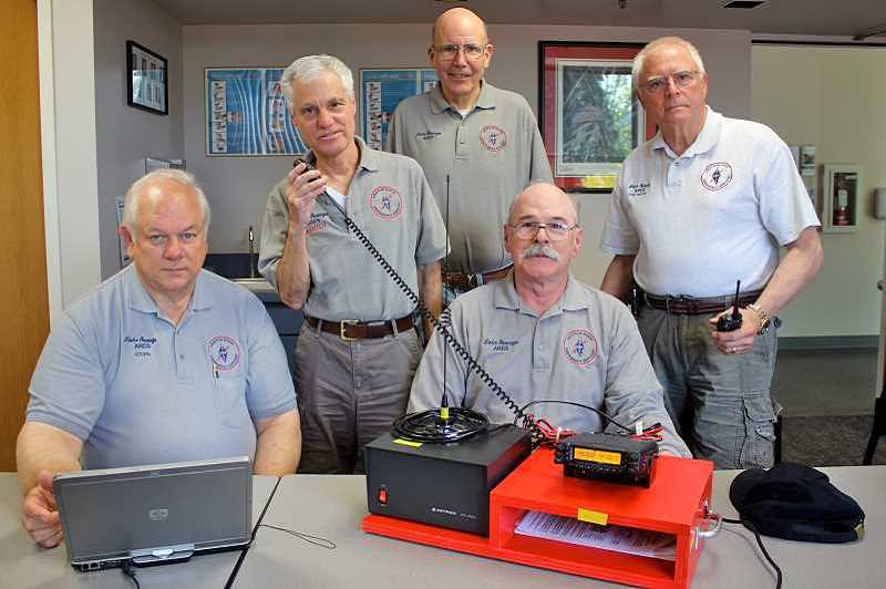 REVIEW FILE PHOTO: EMERSON MALONE - LO ARES members (from left) Bill DeBuhr, Phil Rossi, Ron Kinder, Ed Reynolds and Philip Pirrota will keep Lake Oswego's lines of communication open when a natural disaster strikes.