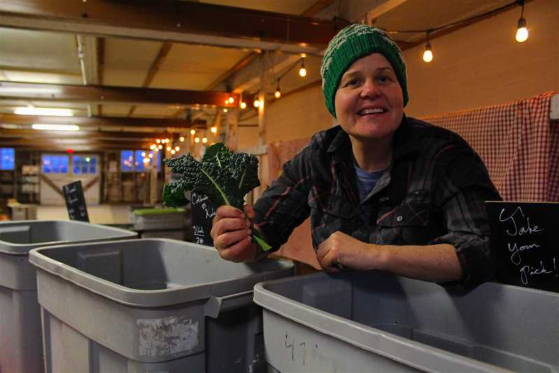 REVIEW PHOTO: SAM STITES - 47th Avenue Farm staff member Trish Hall helps Community Supported Agriculture members and interested newcomers as they sift through boxes upon boxes of fresh, local food at Luscher Farm.