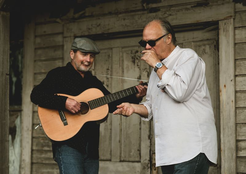 COURTESY: JESSICA KEAVENY - Guitarist Alan Hager (left) says singer/harmonica player Curtis Salgado is 'a wonderful person to make music with.' They've been jamming together for the past 14 years.