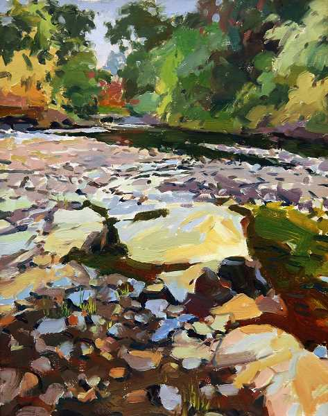 COURTESY PHOTO - Yong Hong Zhong's Umpqua River painting is one of several in his show at the Walters Cultural Arts Center.