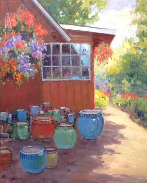 COURTESY PHOTO - 'Smith Berry Barn Flower Pots' is one of several oil painting that be will on display by Ellen Jerome at Sequoia Gallery + Studios First Tuesday show.