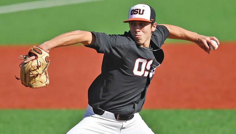 TRIBUNE FILE PHOTO: JAIME VALDEZ - Luke Heimlich is set to return to the mound for Oregon State when the Beavers open their 2018 baseball season in mid-February in Arizona.