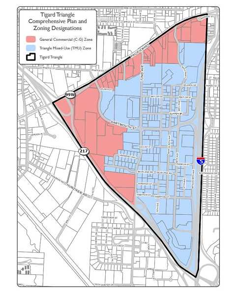 COURTESY TIGARD PLANNING DEPARTMENT - This map show the new zoning district designed specifically for mixed-use zoning in whats known as the Tigard Triangle.