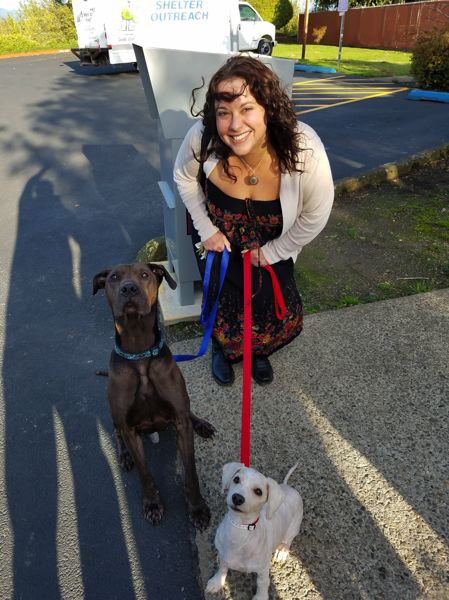 COURTESY MULTNOMAH COUNTY - Dade, left, and Phillip bark for the camera with new owner Jennifer E., who adopted both pups from the Multnomah County Animal Shelter in Troutdale.