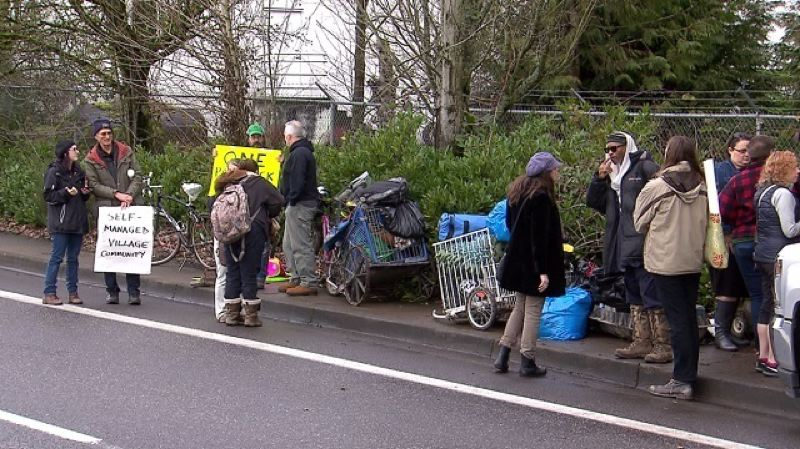 KOIN 6 NEWS - Homeless camper and supports after the Village of Hope' in Northeast Portland was closed down.