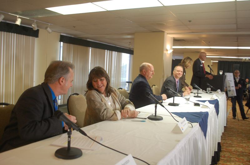 PHOTO BY: RAYMOND RENDLEMAN - All five Clackamas County commissioners attend the Jan. 31 State of the County event hosted by the North Clackamas Chamber at the Monarch Hotel.