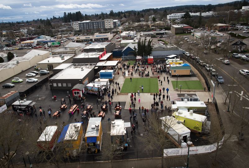 TIMES PHOTO: JAIME VALDEZ - Beaverton's new food cart pod, as seen from the roof of City Hall.