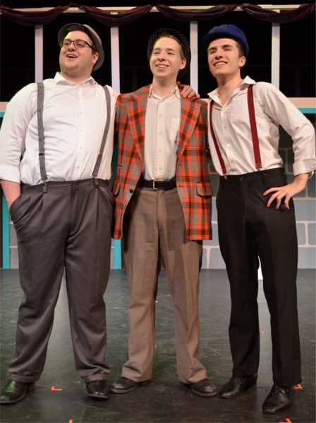 COURTESY PHOTO - Will Levings, Makaio Thompson and Kellan Taylor as Jamie, Doolittle and Harry, respectively, celebrate a little bit of luck.