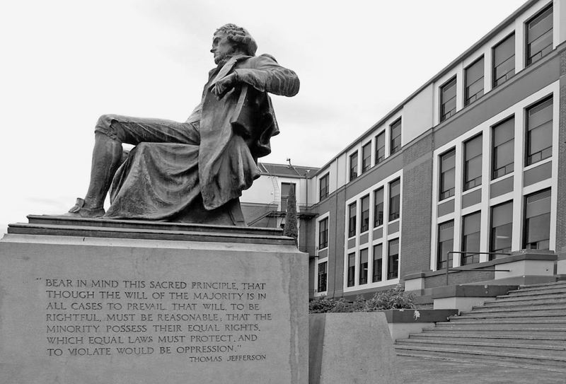 PORTLAND TRIBUNE FILE PHOTO - The statue outside of Jefferson High School honors the words and image of the third president, but some say there is a darker side to Jefferson we should not bury in the past.