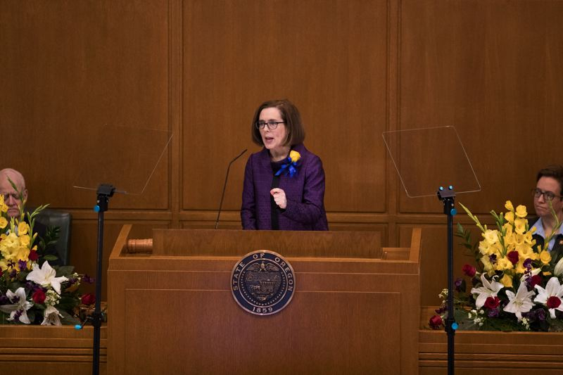 PAMPLIN MEDIA GROUP: JAIME VALDEZ - Gov. Kate Brown delivers her state-of-the-state address at the Oregon Capitol Monday.