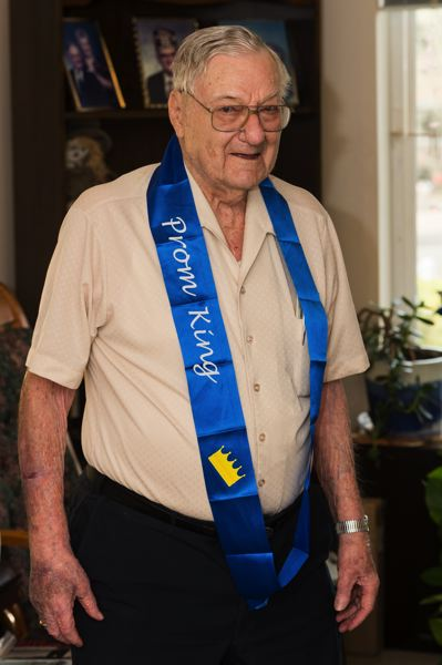 STAFF PHOTO: CHRISTOPHER OERTELL - Ninety-nine-year-old Harold Johnson was chosen as the prom king at the Jennings McCall Continuing Retirement Community last year. He still has the sash.