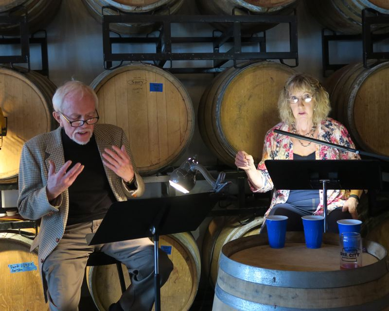 SUBMITTED PHOTO - Pictured above are Tobias Andersen and Randi Douglas in 'Bakersfield Mist,' a CRT staged reading performance in March of 2015 at Oregon City Brewing Company.
