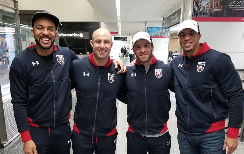 CONTRIBUTED PHOTO - Barlow High graduate Sam Michener, second from right, poses with members of his four-man sled after arriving in South Korea late last week.