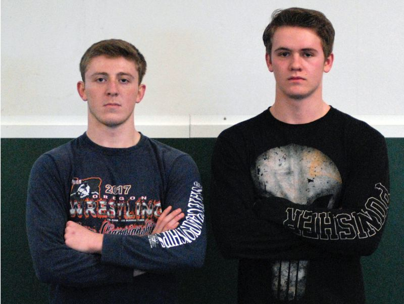 ESTACADA NEWS: MATT RAWLINGS - Estacada seniors Justin Drury, left, and Draco Yandell are expected to contend for weight-class titles at this weekends Regional tournament.