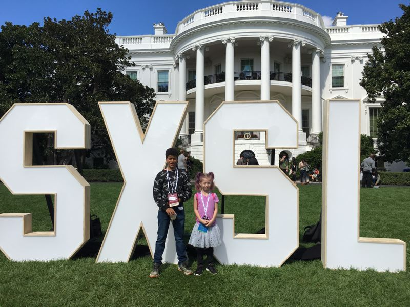 CONTRIBUTED PHOTO: METRO EAST COMMUNITY MEDIA - Dante McFallo and younger sister, Zen McFallo, attend the White House Student Film Festival to accept an Honorable Mention Award at the White House for the film The World I Want to Live In: Letters & Numbers.