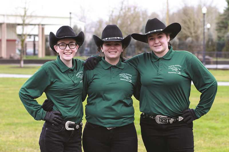 KIM KNIGHT - The 2018 North Marion equestrian team (from left): Peyton Knight, Victoria Ledesma and Rebecca Lettenmaier.