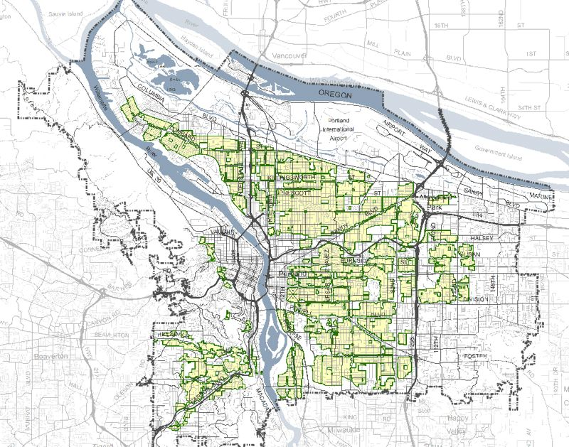 COURTESY BUREAU OF PLANNING AND SUSTAINABILITY - Maps of Portland parcels to be rezoned for denser housing are on the Residential Infill Project's website.