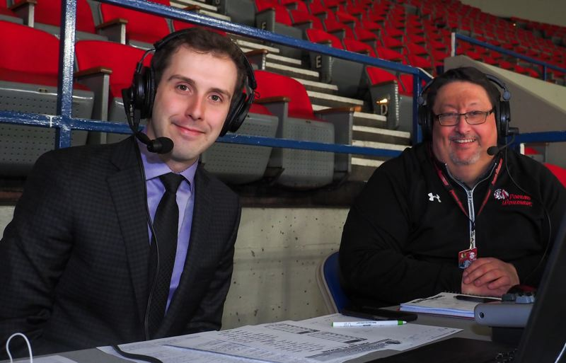 COURTESY: PORTLAND WINTERHAWKS - Evan Richardson (left) is in his first season calling play-by-play for the Portland Winterhawks, joining veteran Andy Kemper in the broadcast booth.