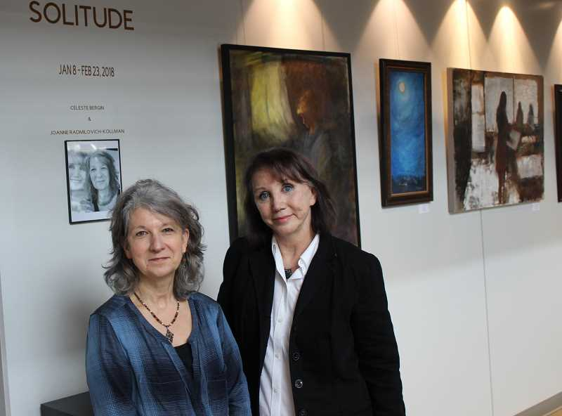 SPOKESMAN PHOTO: COREY BUCHANAN - The work of artists Joanne Radmilovich-Kollman (left) and Celeste Bergin is displayed in the Solitude exhibit at the Clackamas Community College campus in Wilsonville.