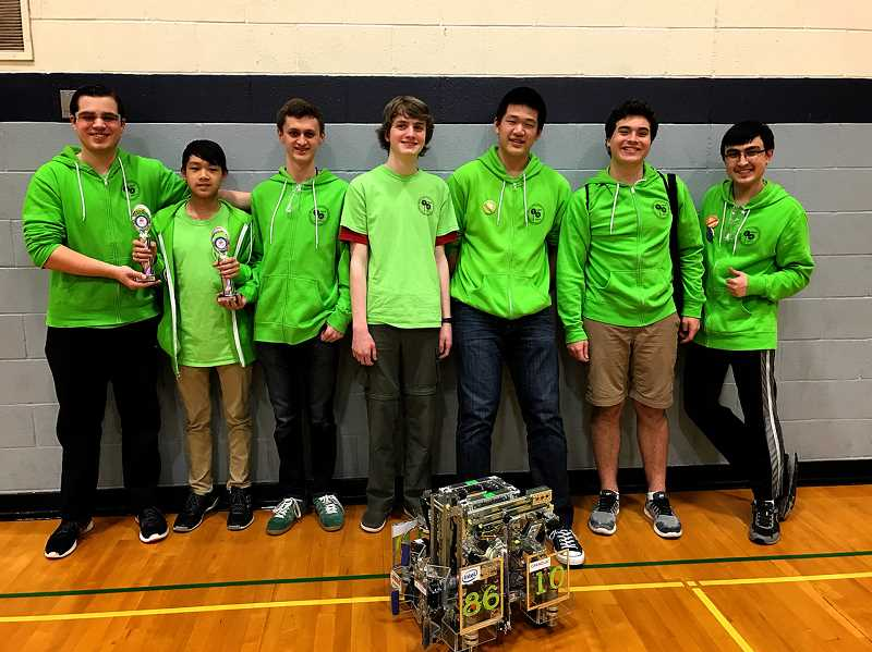 SUBMITTED PHOTO - Team Tobor Tech poses after advancing to the Super Qualifying Tournament (from left): Parker Williams, Kevin Tsai, Mason Mann, Nick Degrood, Jeffery Sun, Jack Bride and Carl Bergstrom.