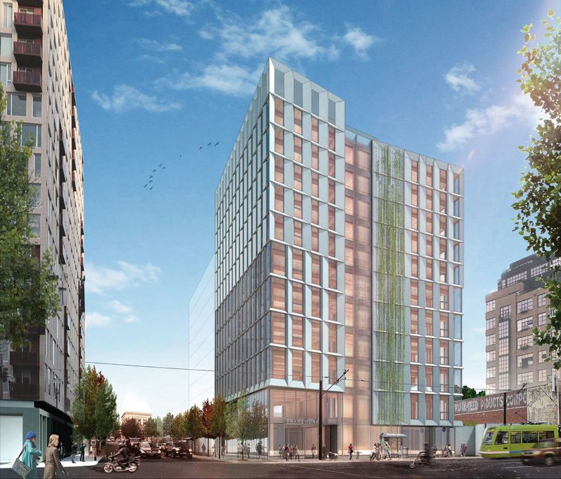 PAMPLIN MEDIA GROUP: FILE PHOTO - Currently under construction in the Pearl District, Framework is a cross-laminated timber (CLT) trendsetter, set up to be the tallest CLT building in the nation.