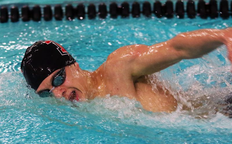 DAN BROOD - Tualatin junior Connor Florey swam to victory in the 500-yard freestyle event during last week's meet at Tigard.