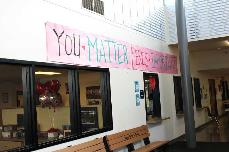 HERALD PHOTO: KRISTEN WOHLERS - Posters that say, 'You matter' and 'Eres importante' are scattered about Canby High School.