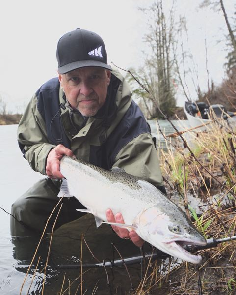 Al Noraker with a February 5 Wilson River broodstock steelhead caught with KastKing's new Krome series strike tip plug rod. The hatchery keeper hit a red K11 Kwikfish.