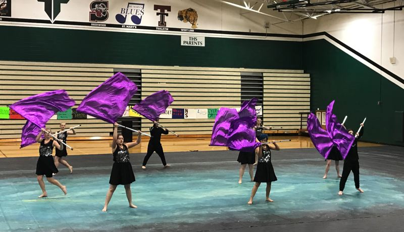 PHOTO COURTESY OF KRISTINA SAUL - The St. Helens High School Winter Guard earned a fourth-place title during the first competition of the season Saturday, Feb. 3, at Tigard High School.