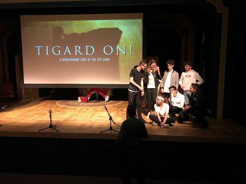 COURTESY SHARON GAVIN, CITY OF TIGARD - Members of Tigard High's Choralation Choir perform 'Tigard On!' a nod to Lin-Manuel Miranda's 'Hamilton,' during Mayor John Cook's State of the City address Wednesday.