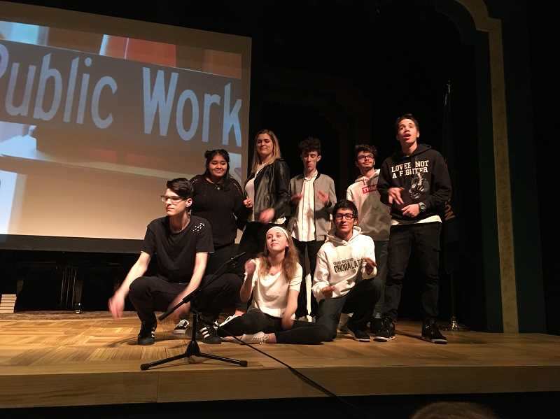 COURTESY OF JOHN COOK - Members of Choralation Choir at Tigard High School did a hip hop/rap rendition of 'Tigard On!' a tribute to the accomplishments of the city over the last year during Mayor John Cook's State of the City address Wednesday.