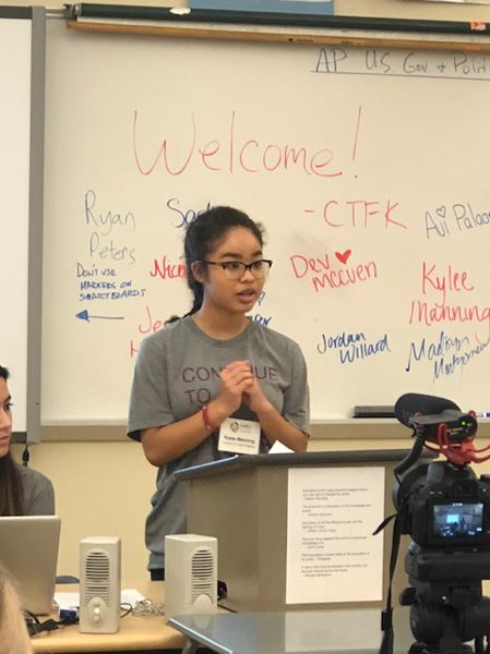 CTFK board member Kylee Manning speaks at the Family Focus Forum at Oregon City High School, where she is a freshman.