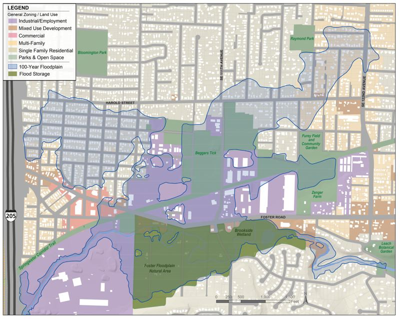 COURTESY BUREAU OF ENVIRONMENTAL SERVICES  - Map shows properties that could be submerged in water during a 1 percent or 100-year flood of Johnson Creek in the Lents and Powellhurst-Gilbert neighborhoods of East Portland.