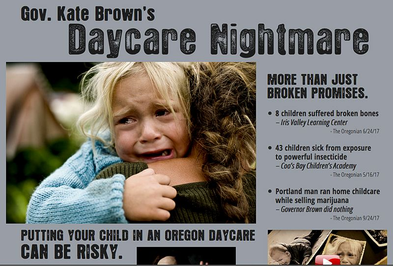 (Image is Clickable Link) COURTESY PHOTO: DAYCARENIGHTMARE.ORG - A Priority Oregon website highlights issues in Oregon day care centers that were found by a secretary of state audit.