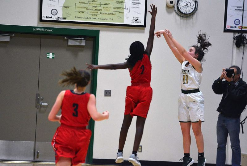TIMES PHOTO: MATT SINGLEDECKER - Jesuit junior guard Savannah Corradini made the game-tying three against Westview to send the contest to overtime.