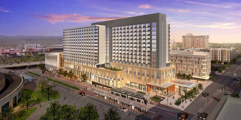 COURTESY: HYATT REGENCY - Located across the street from the Oregon Convention Center, the new Hyatt Regency hotel has already augmented the business of the convention center. At least 10 conventions have been booked through the year 2024. Previously, an estimated 10 to 12 conventions were lost each year due to the lack of a headquarters hotel.