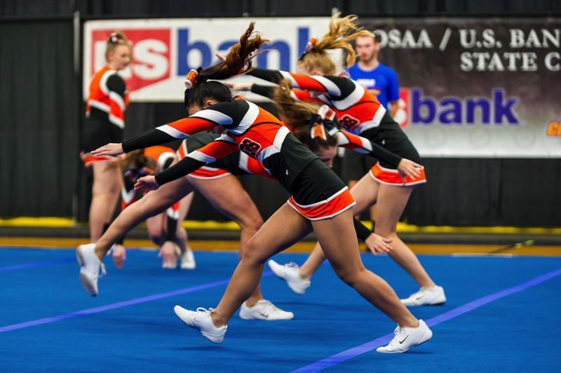 PAMPLIN MEDIA GROUP: DIEGO DIAZ - Beaverton High School cheerleaders performed routines Saturday, Feb. 10, at the OSAA State Cheerleading Championships in Portland.
