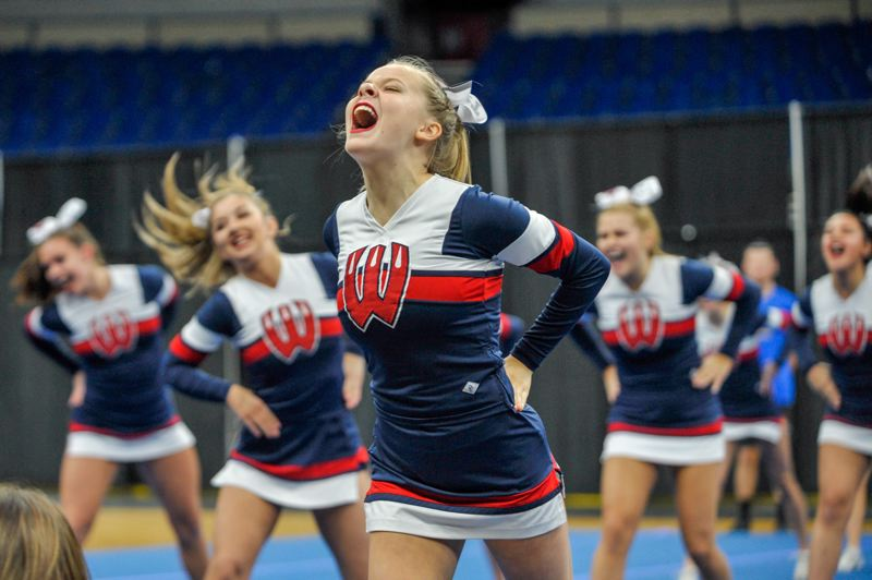 PAMPLIN MEDIA GROUP: DIEGO DIAZ - Westview High School cheerleaders took home the 6A trophy Saturday, Feb. 10, during the OSAA State Cheerleading Championships in Portland.
