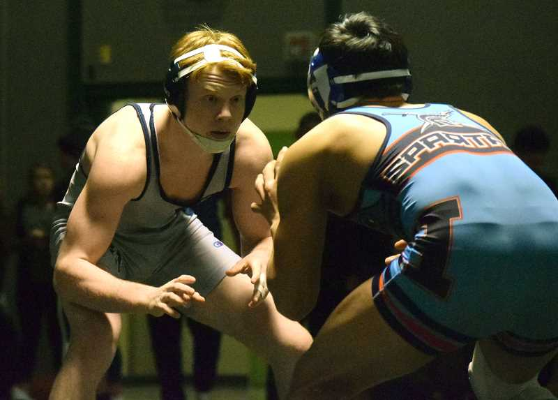 SPOKESMAN PHOTO: TANNER RUSS - Freshman Tyson Resko impressed on Saturday, Feb. 10 in winning the 152-pound division.