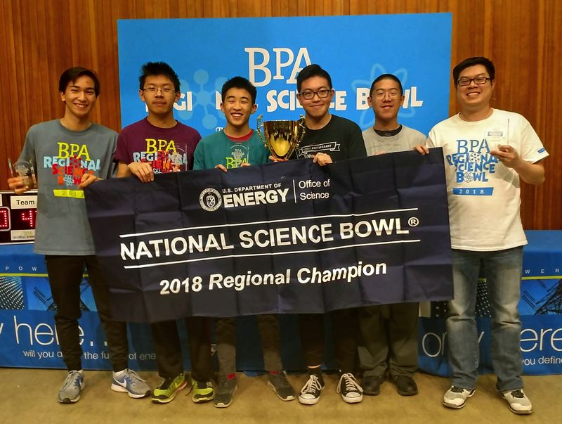 PHOTO COURTESEY KOMO CHIU - Westview's science bowl team took top regional honors Feb. 10, and head to nationals in April.