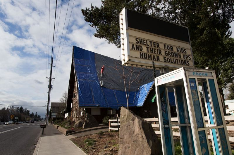 PORTLAND TRIBUNE: JAIME VALDEZ - The leaking roof was a known problem at he emergency family shelter located at 16015 S.E. Stark St. Formerly the Woodshed Restaurant and then the Black Cauldron strip club, it has been shut down by Multnomah County and nonprofit Human Solutions because of safety concerns.