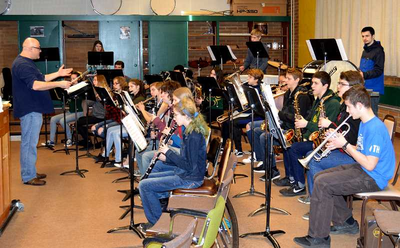 PIONEER PHOTO: CINDY FAMA - Colton High School band practices under the direction of Bobby Rice.