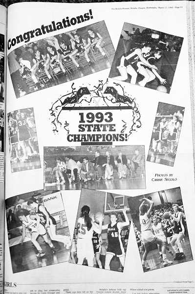 PIONEER PHOTO: CONNER WILLIAMS - This Molalla Pioneer newspaper clipping from the March 17, 1993 edition features an array of photos from the 1993 season.