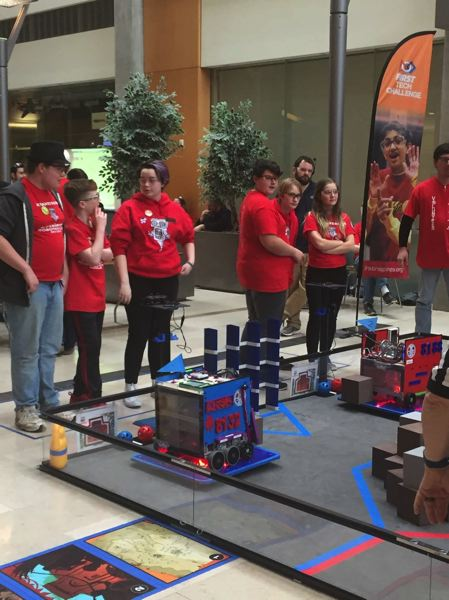 PHOTO COURTESY: LESLIE ROBINETTE - Kraxberger Middle School sent two robotics teams to compete at Oregon State University. Pictured (from left) are lead programmer Jamie Hauge, Driver Emmett Huth, Team 8132 captain Lauren Hirte, lead programmer Bryson William, driver Logan Morris, and Team 8188 captain Grace Christiansen.