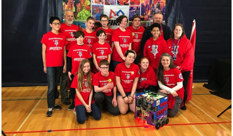 PHOTO COURTESY: LESLIE ROBINETTE - Team 8132 celebrates finishing 12th among 31 teams and earning the Connect award.