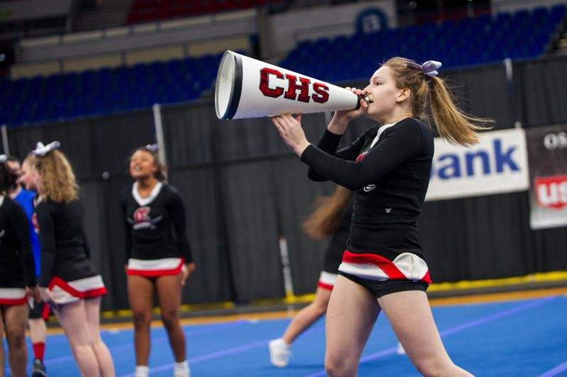 DIEGO G. DIAZ/FOR PAMPLIN MEDIA GROUP - Clackamas High School cheerleaders compete Saturday, Feb. 10.